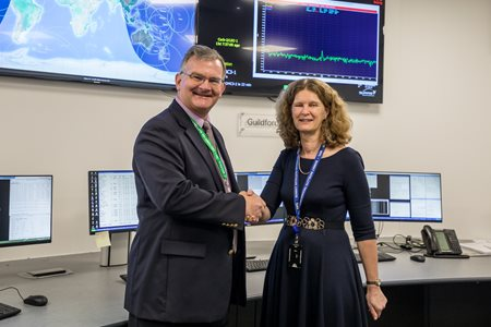 Kent Leka, GM of Viasat Antenna Systems and Sarah Parker, MD of SSTL.  Credit SSTL, Kathryn Graham