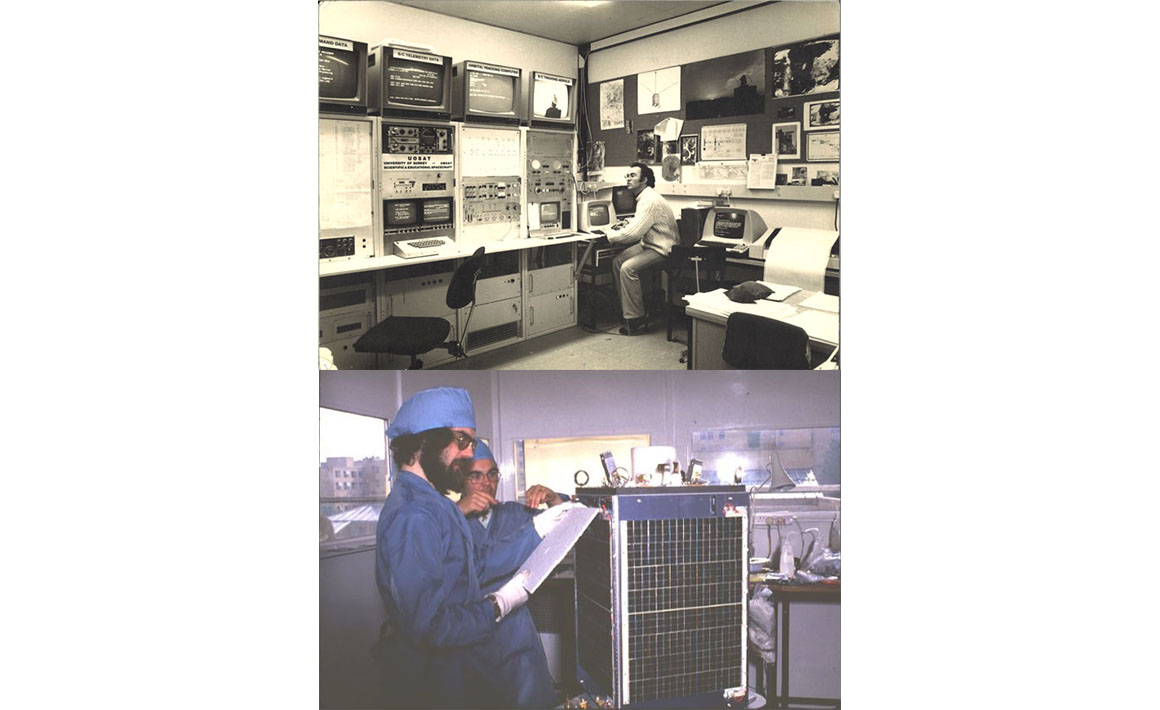 First modern microsatellite with in-orbit re-programmable computers, UoSAT-1 (1981)