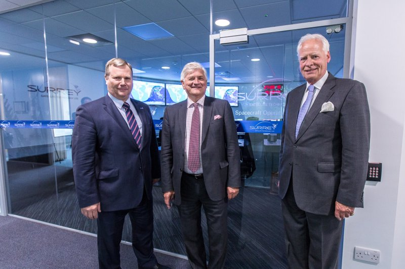 Patrick Wood, Peter Martin and Michael Boyd outside SSTL's new Spacecraft Operations Centre
