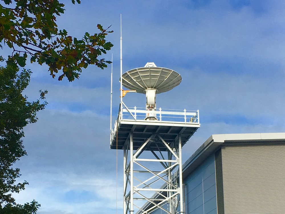 Viasat RTE antenna at SSTL, Guildford. Credit SSTL, Emily Kelly