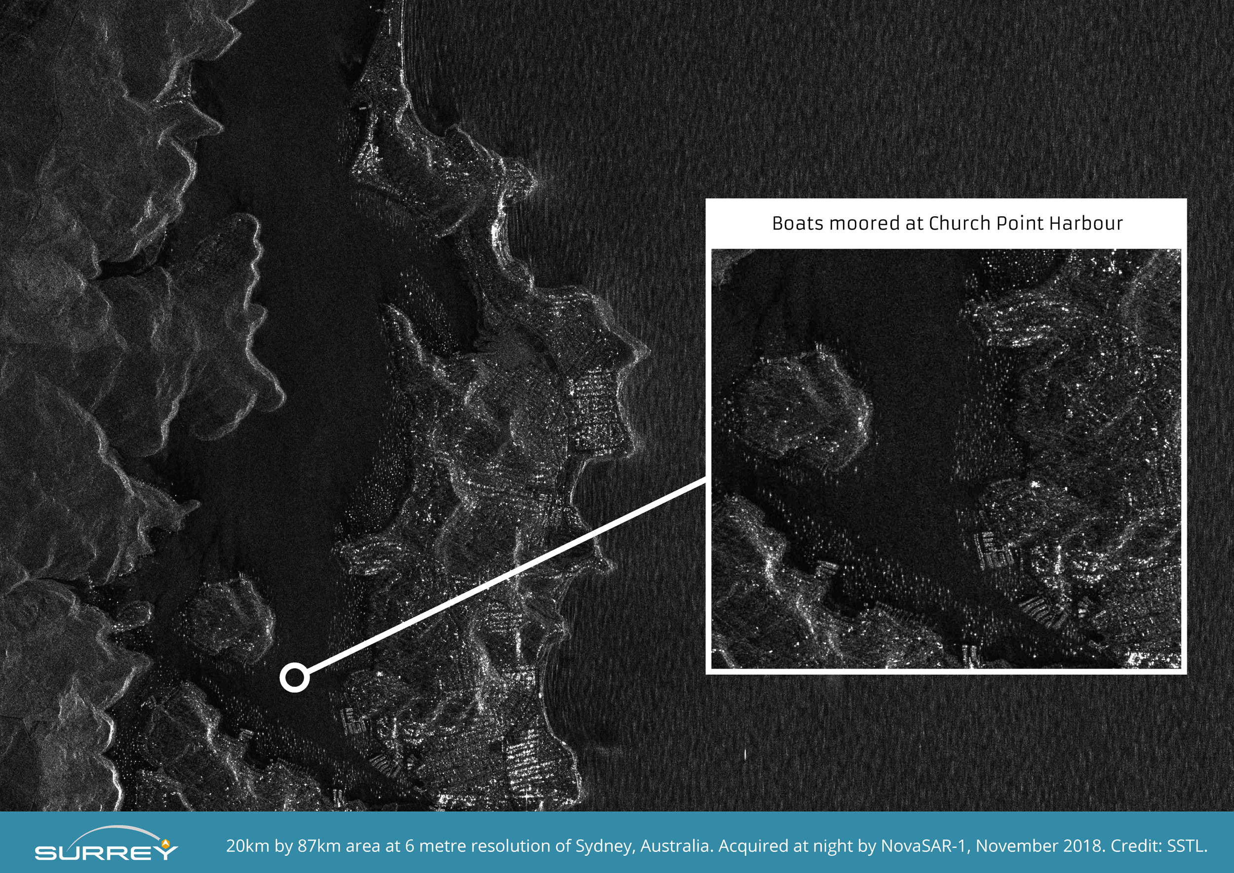 NovaSAR-1 S-Band Radar image of Church Point Harbour, near Sydney, taken at night at 6 metre resolution.  Image zoomed and compressed from original file.  Credit SSTL.