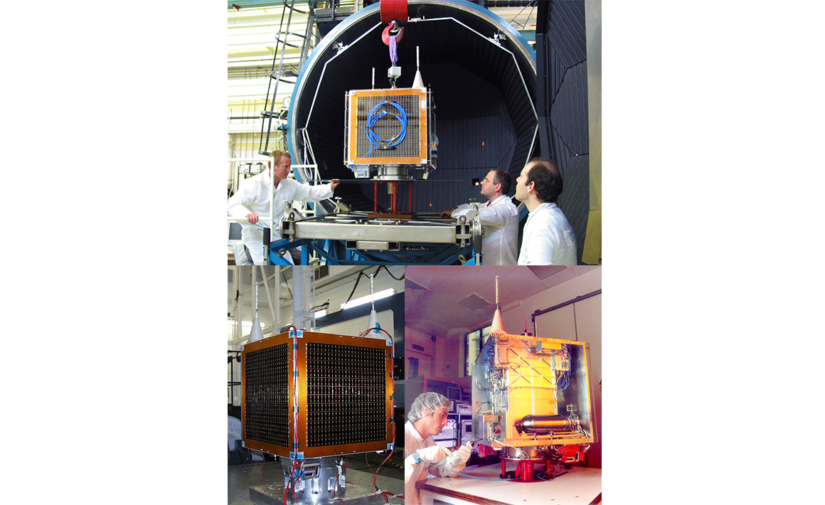 First satellite to take 32m resolution multispectral images at 600km swath width, AlSAT-1 (2002)