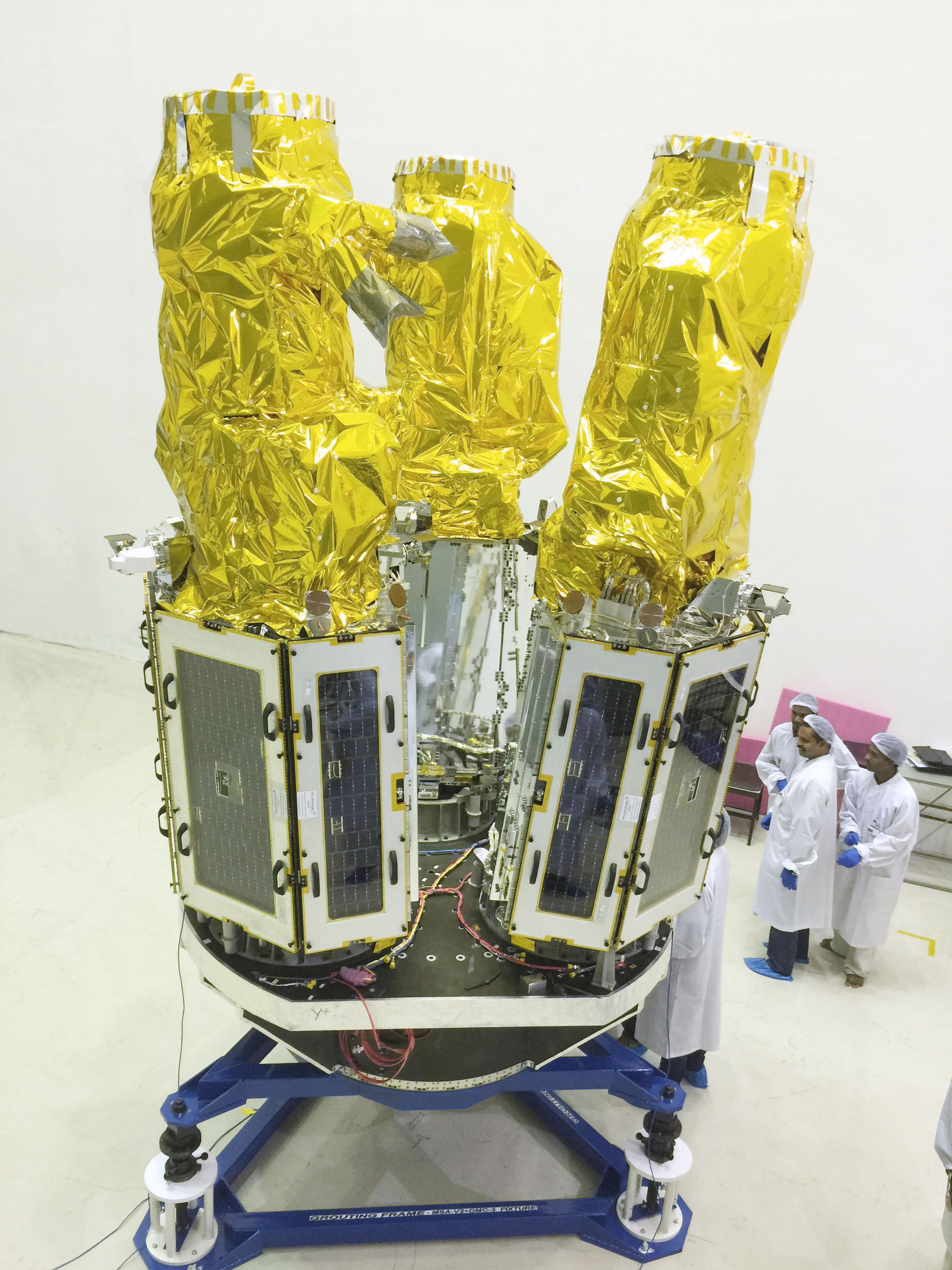 The three DMC3 satellites on the launch vehicle adaptor at launch site: Satish Dhawan Space Centre, Sriharikota, India