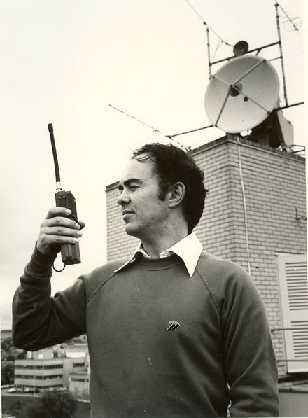 Martin Sweeting with hand-held Digitalker unit