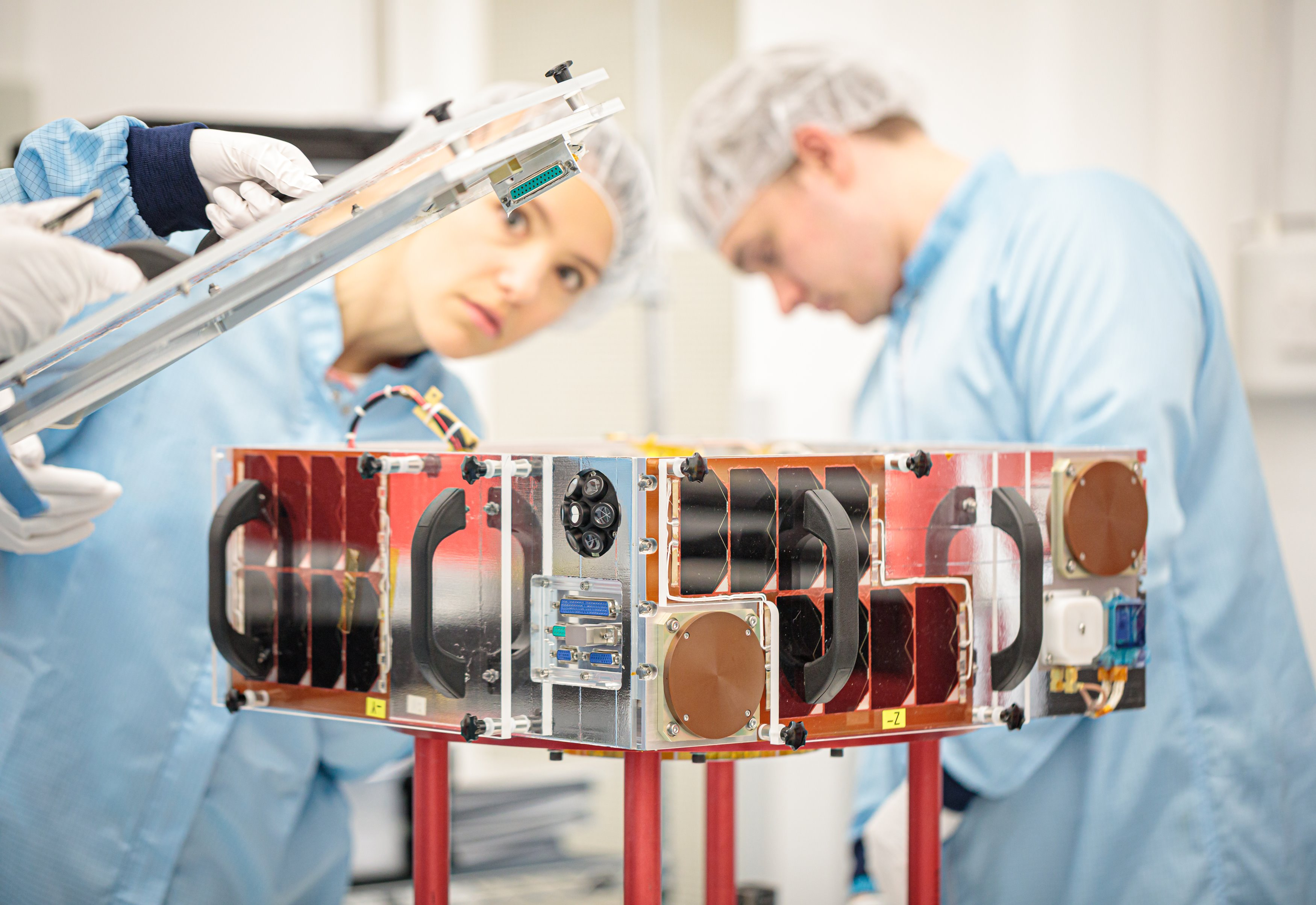 ELSA-d Target satellite during final assembly at SSTL. Credit SSTL/Kathryn Graham