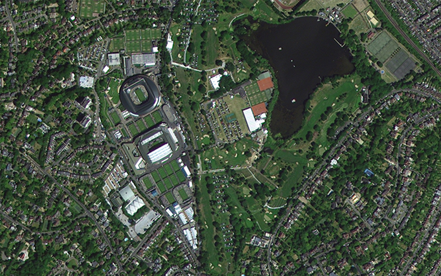 All England Lawn Tennis Club imaged by one of the DMC3/TripleSat Constellation satellites, July 2018.  Credit 21AT.