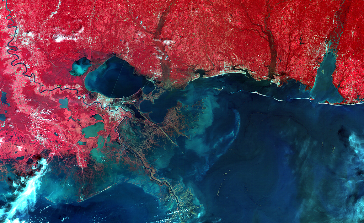 First satellite image of New Orleans coastline, following Hurricane Katrina, NigeriaSat-1 image (2005)