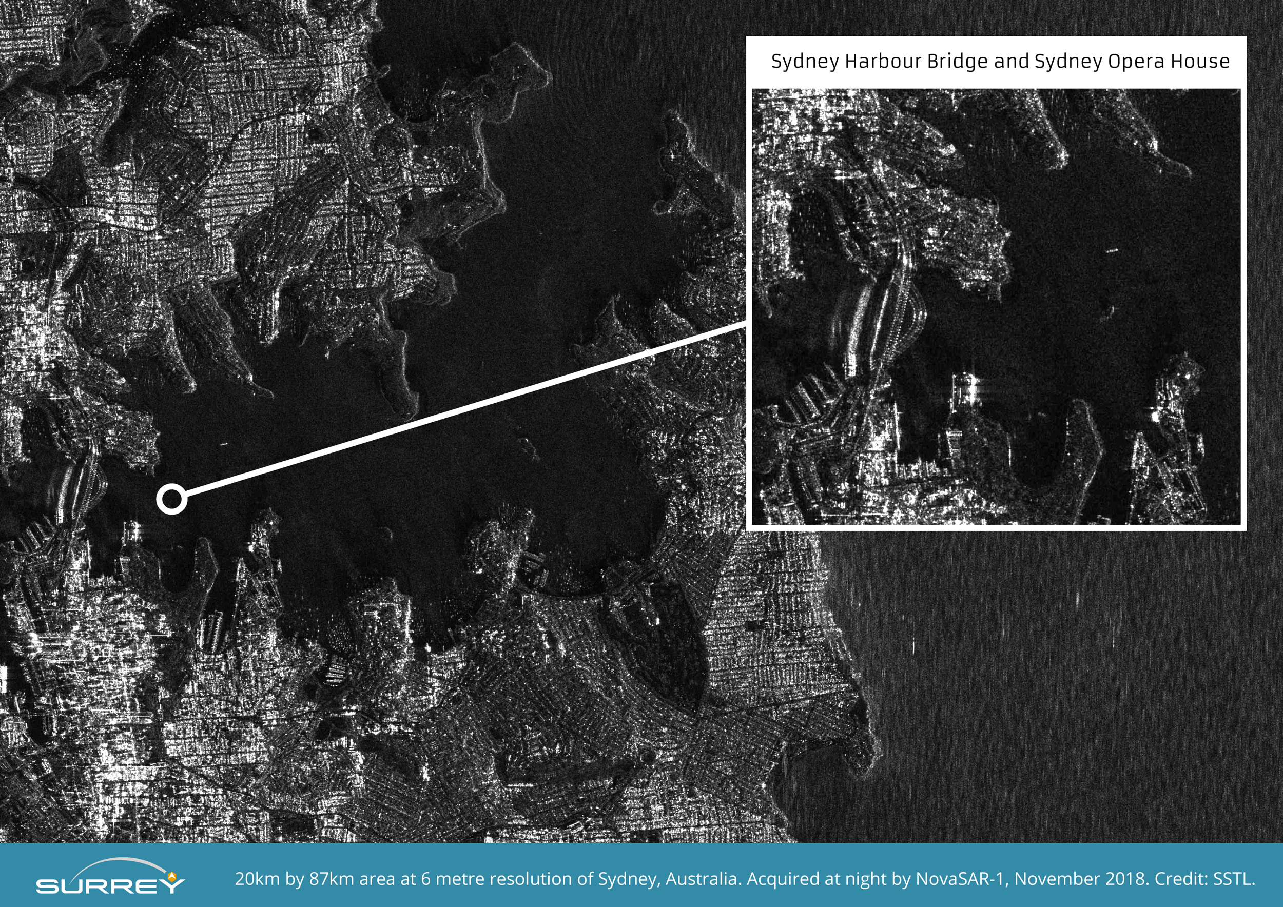 NovaSAR-1 S-Band Radar image of Sydney Harbour taken at night at 6 metre resolution. Image zoomed and compressed from original file.  Credit SSTL.