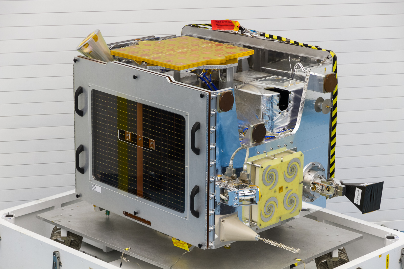 TechDemoSat-1 satellite during assembly at SSTL, 2013. Credit SSTL.
